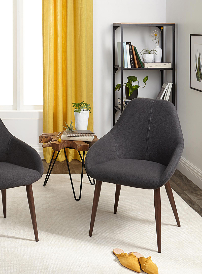 Modern chair with faux-walnut feet  Set of 2