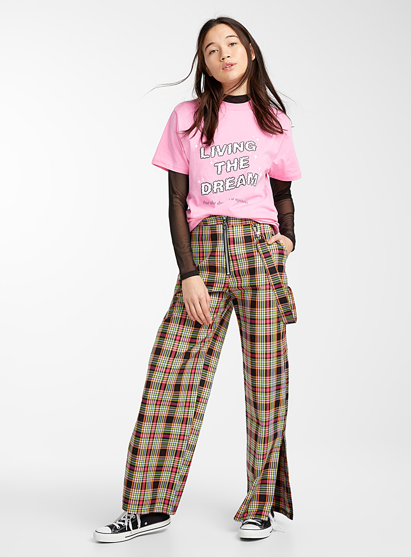 Sweet harness check pant - Straight - Patterned Black