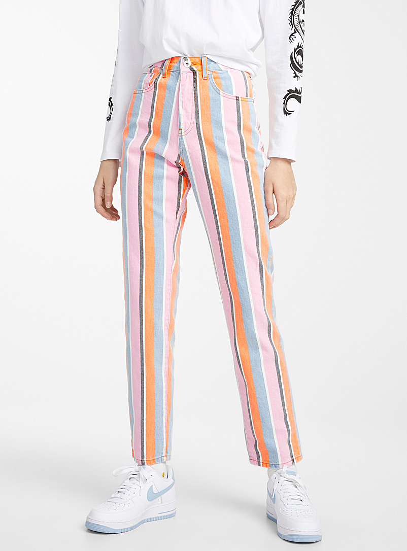 Colourful stripe mom jean - High Rise - Assorted
