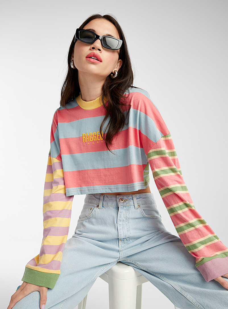 The Ragged Priest Assorted Colourful stripe ultra-cropped tee for women