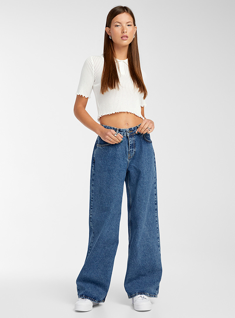The Ragged Priest: Le jean jambe extralarge taille basse Bleu pour femme