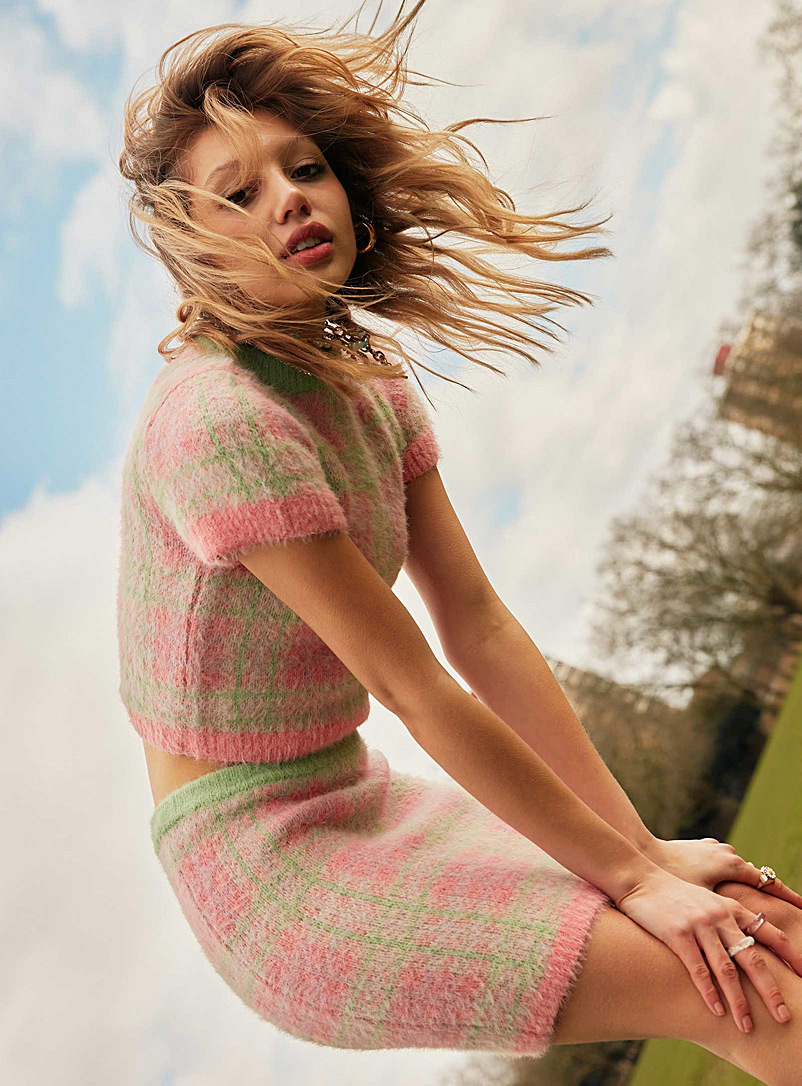 The Ragged Priest Assorted Candy-coloured check fluffy sweater for women