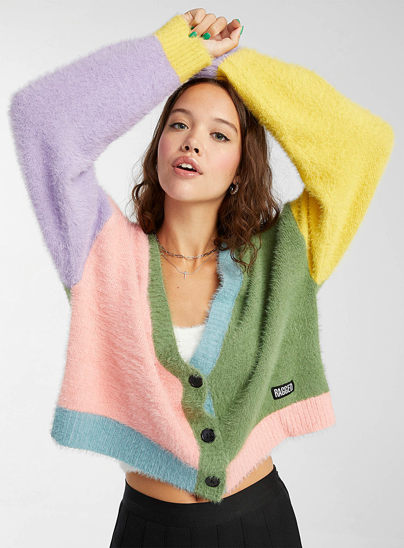 The Ragged Priest Assorted Fuzzy colour-block cardigan for women