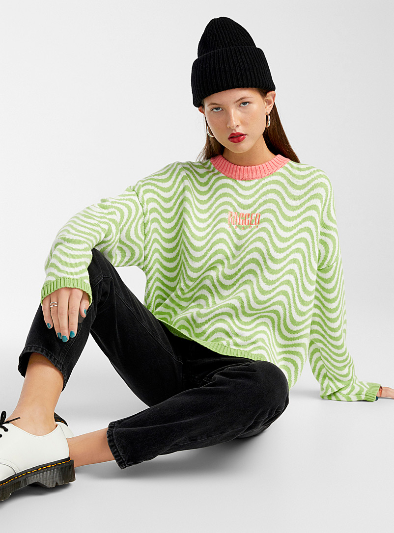 The Ragged Priest Patterned Green Funky wave sweater for women
