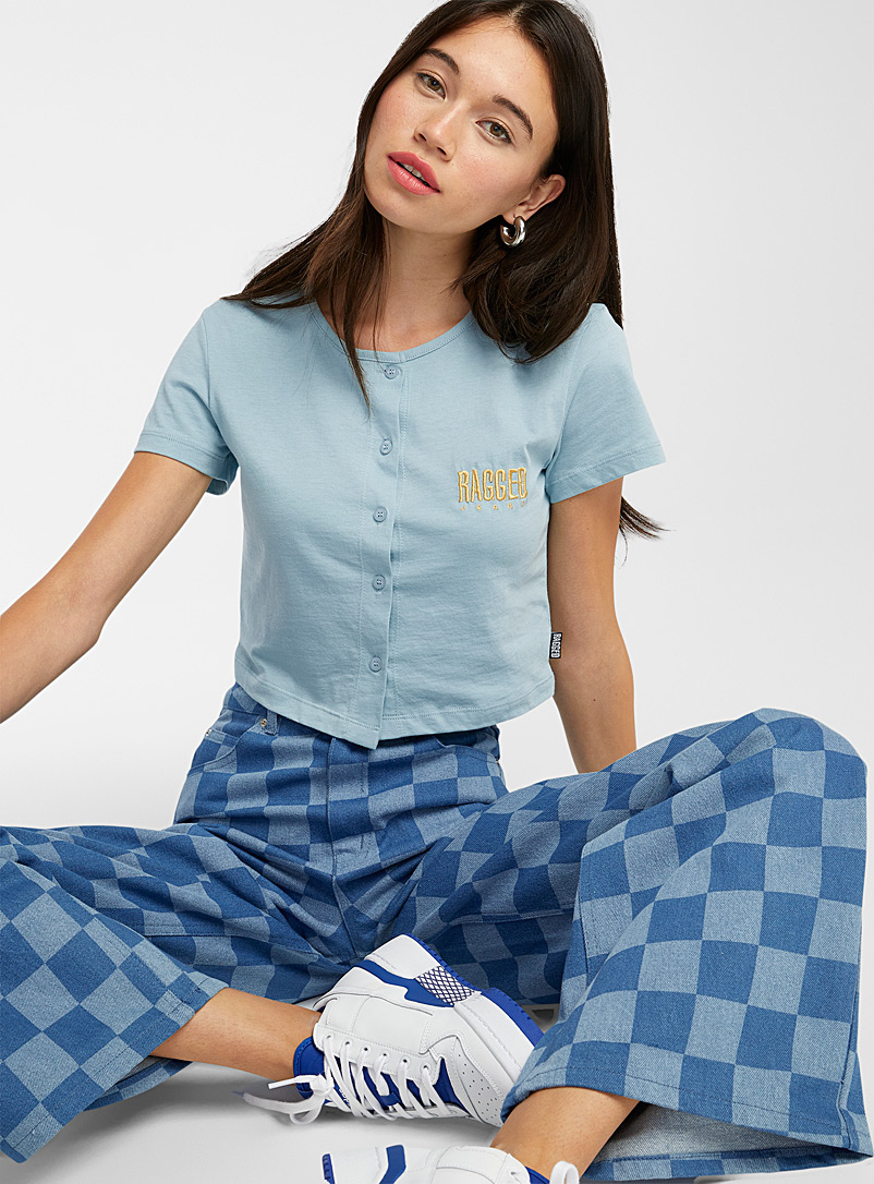 The Ragged Priest Blue Gold-logo blue tee for women