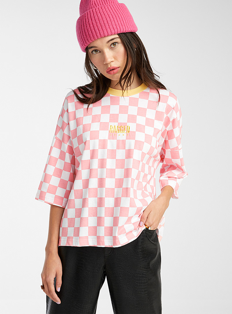 The Ragged Priest Pink Pink check tee for women