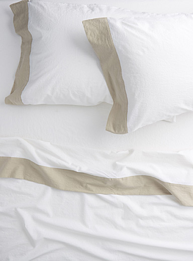 Simons Maison White Linen-cotton sheet set  Fits mattresses up to 16 in.