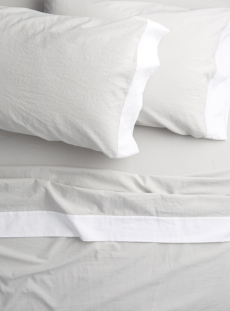 Simons Maison Light Grey Linen-cotton sheet set  Fits mattresses up to 16 in.