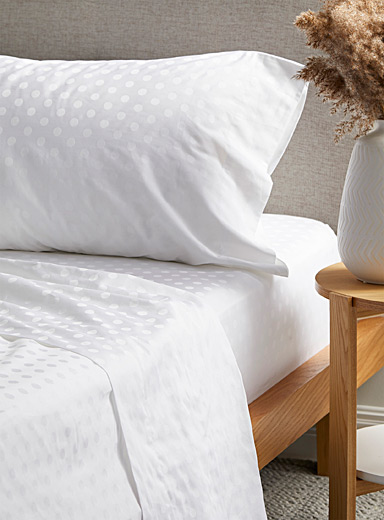 Simons Maison White 300-thread-count tone-on-tone jacquard sheet set  Fits mattresses up to 16 in.