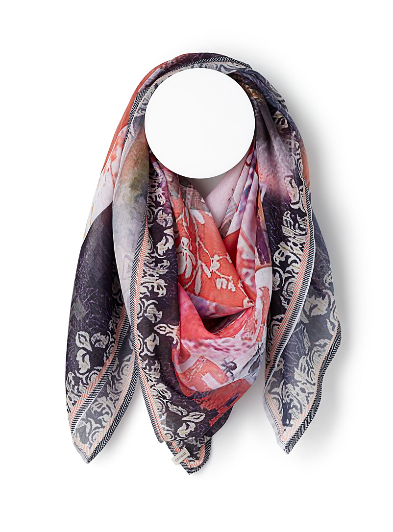 Collage-like scarf - Light scarves - Patterned Orange