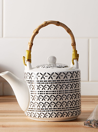 Simons Maison Black and White Graphic porcelain teapot