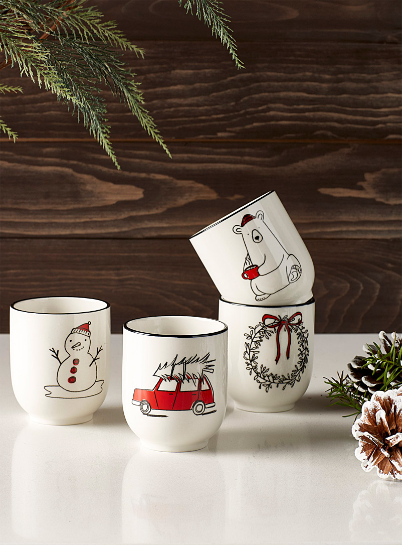 Simons Maison Assorted Winter delights teacups  Set of 4