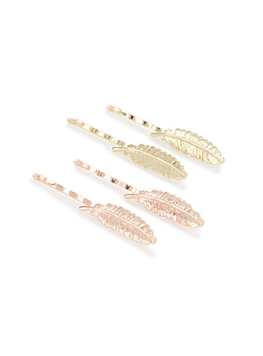 Metallic feather hair clips  Set of 4