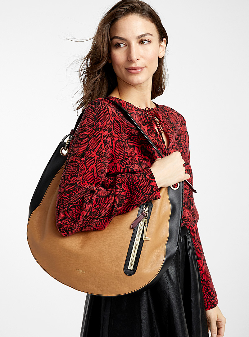 Lancel Patterned Brown Ellie L saddle bag for women