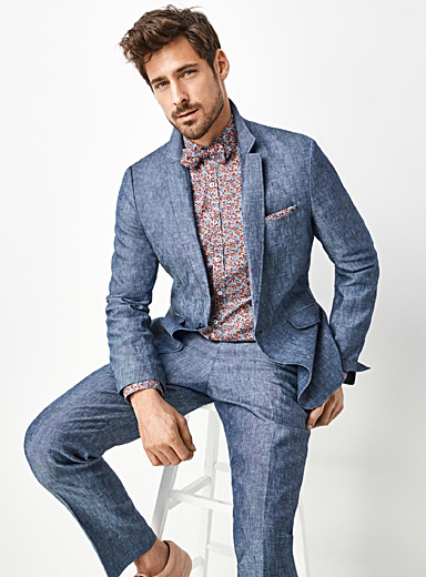 Indigo chambray pure linen jacket  London fit - Semi-slim