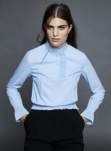 Paper fan pleat trim blouse