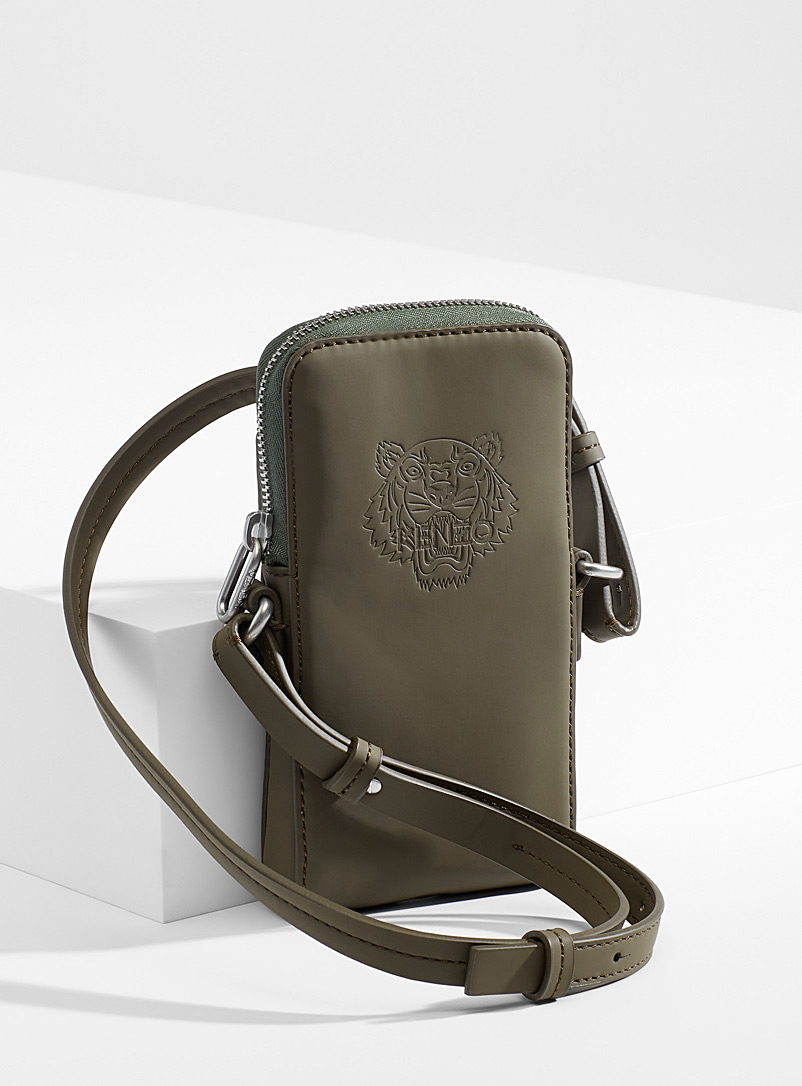 Kenzo Mossy Green Preppy Tiger phone shoulder bag for women