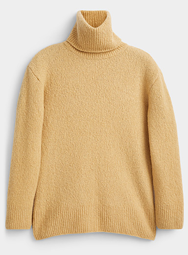 Kenzo Cream Beige Recycled cashmere turtleneck sweater for women