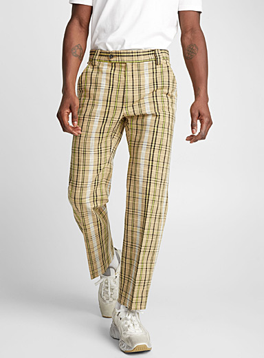 Neon accent check pant