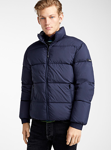 Colorblock reversible puffer jacket