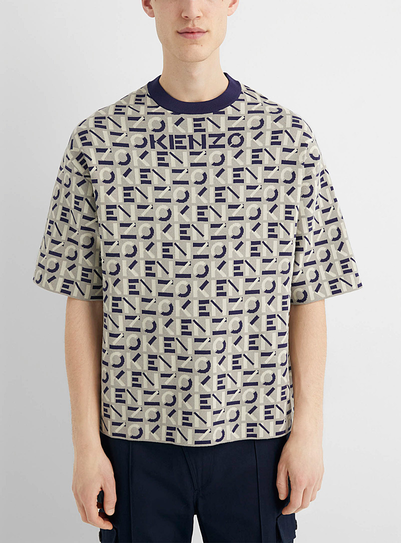 Kenzo Grey Short-sleeve monogram sweater for men
