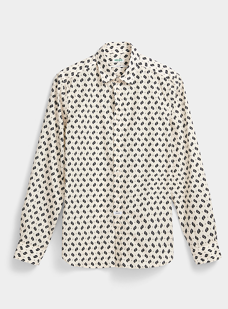 Kenzo Cream Beige Ikat print fitted shirt for men