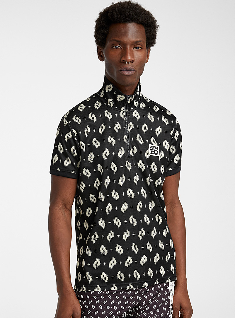 Kenzo Black Ikat polo for men