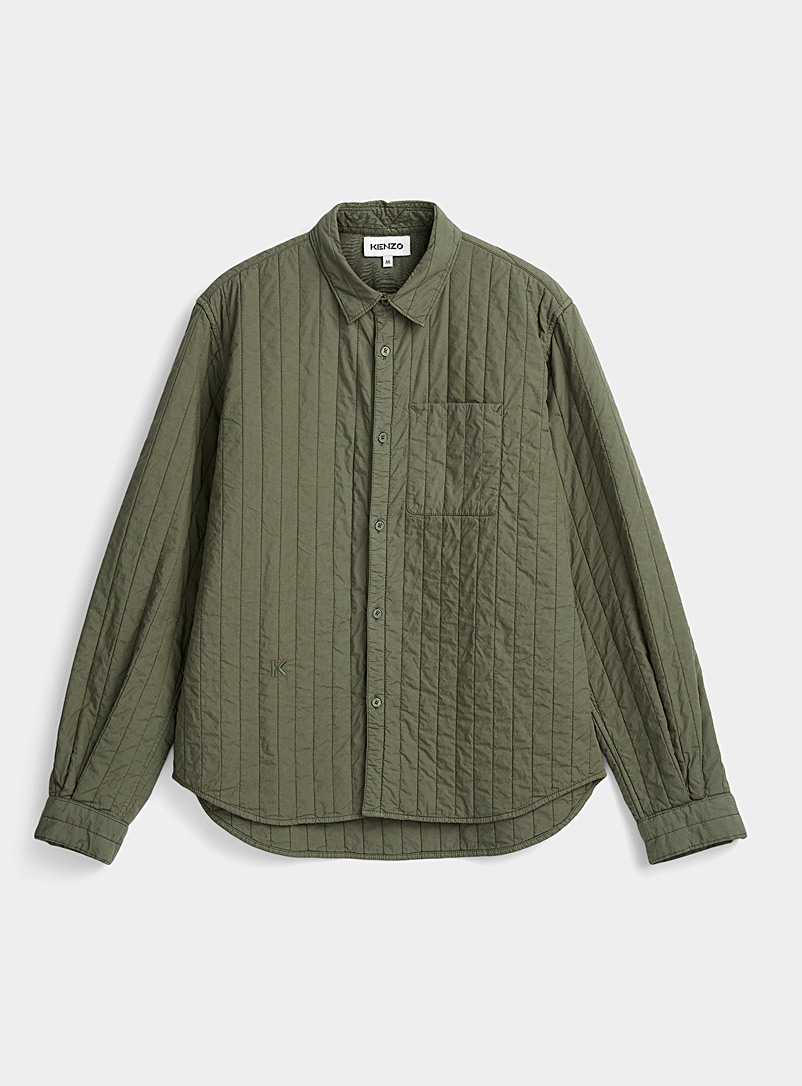 Kenzo Green Quilted overshirt for men