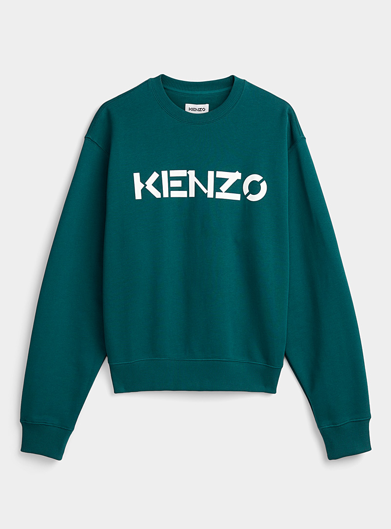Kenzo Green Teal blue logo sweatshirt for men