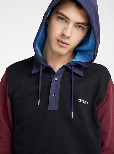 Colourblock hooded polo