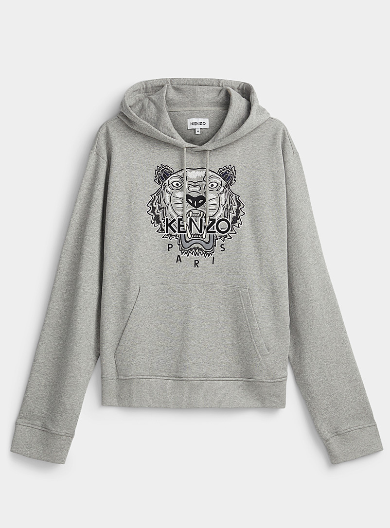Kenzo Grey Tiger grey hooded sweatshirt for men
