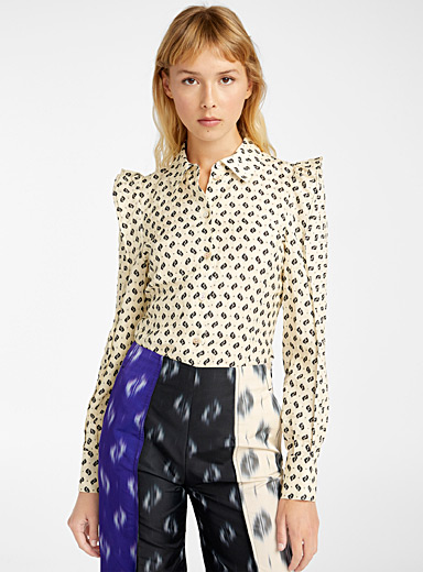 Kenzo Ivory White Ikat blouse for women