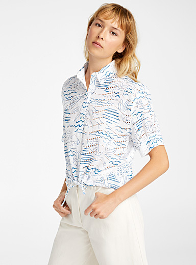 Kenzo Blue Wave & Mermaid blouse for women