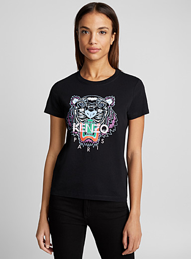 Kenzo Patterned Black Classic Tiger T-shirt for women