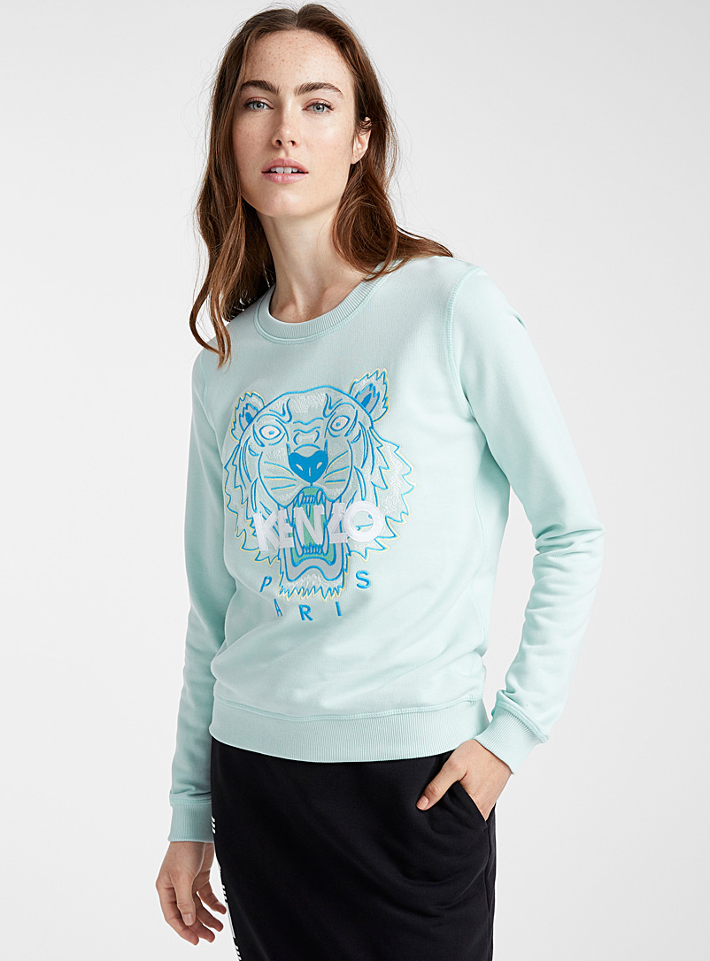 Kenzo Lime Green Tiger classic sweatshirt for women