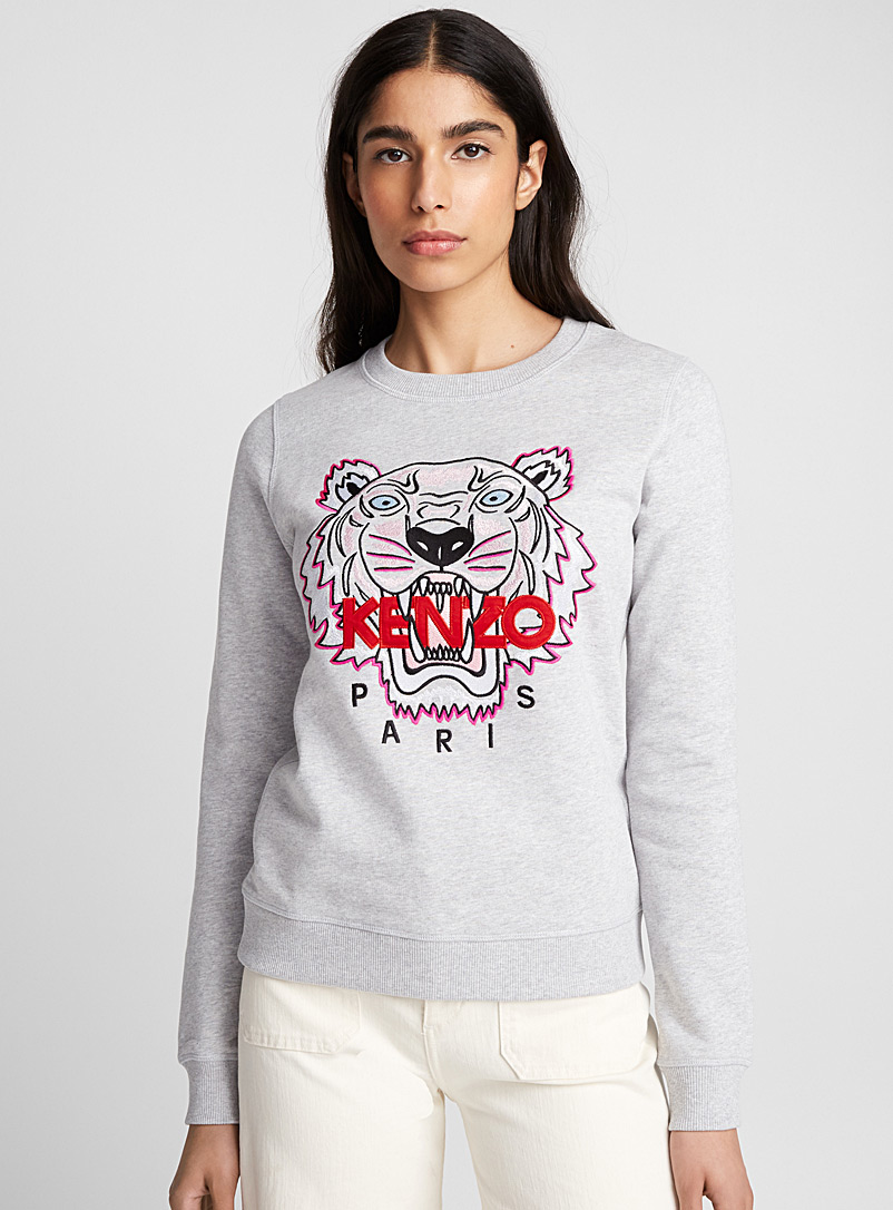 Kenzo Light Grey Tiger classic sweatshirt for women