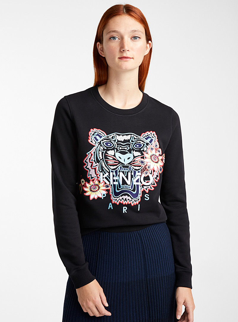 Kenzo Black Passion Flower tiger sweatshirt for women