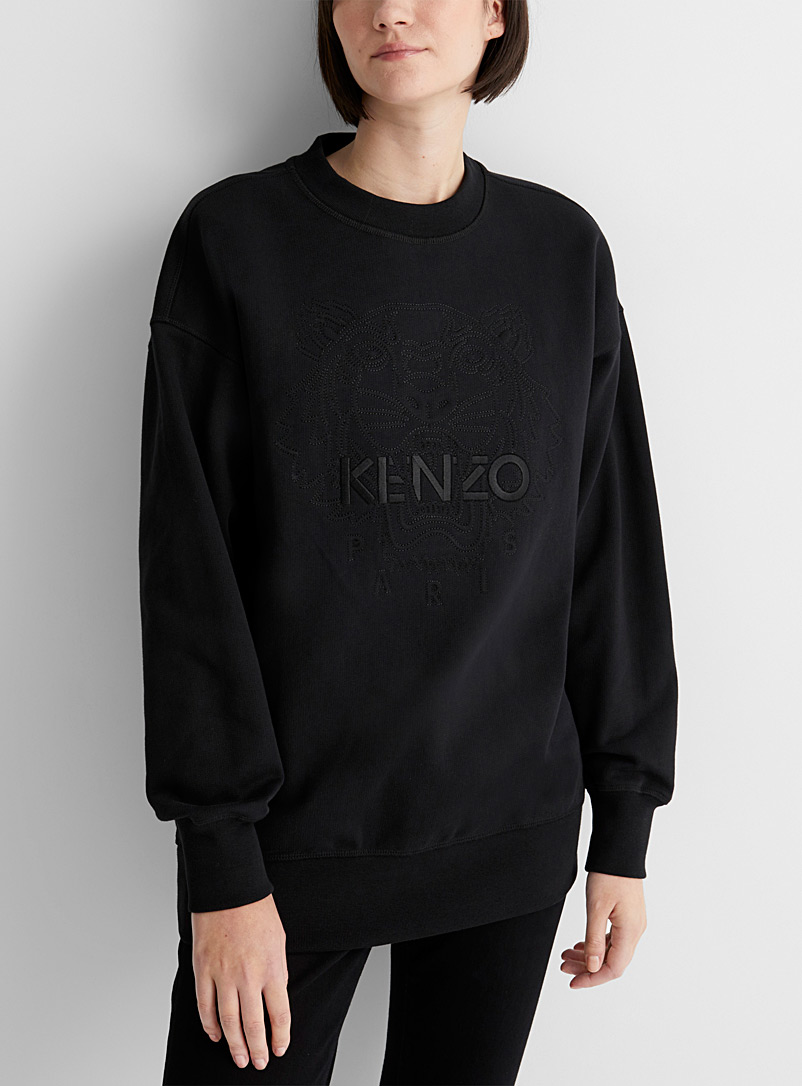 Kenzo Black Embossed tiger logo sweatshirt for women