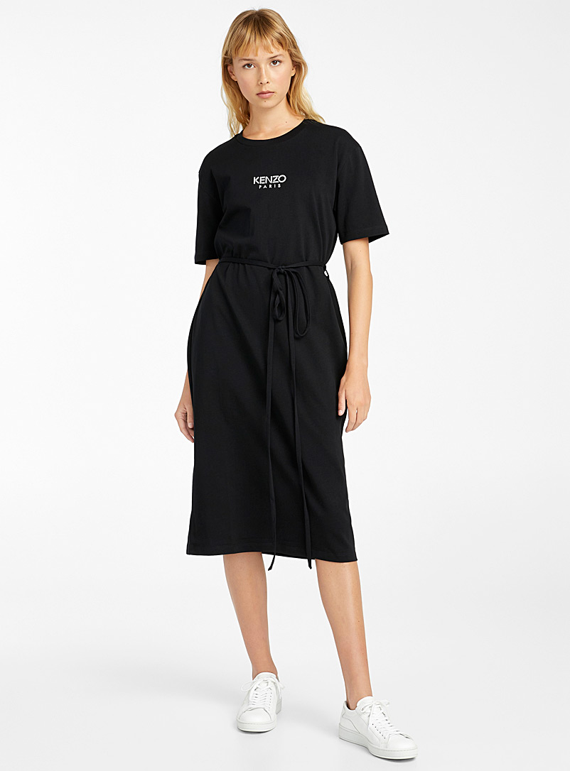Kenzo Black Belted T-shirt dress for women