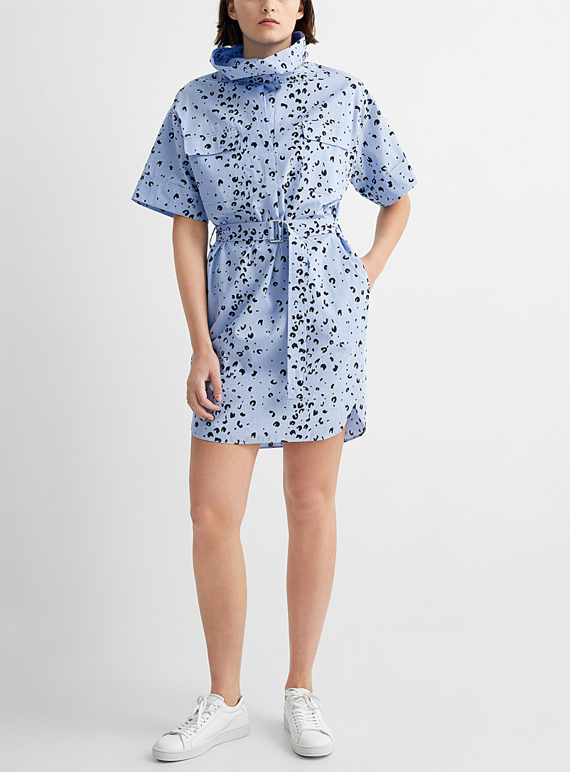 Kenzo Patterned Blue Spotted animal print belted shirtdress for women