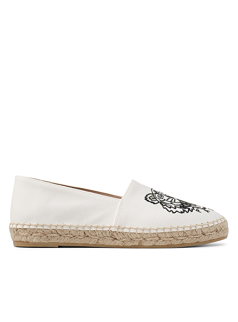 Kenzo Ivory White Tiger canvas espadrilles for women