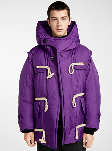 Buttoned-collar hooded jacket