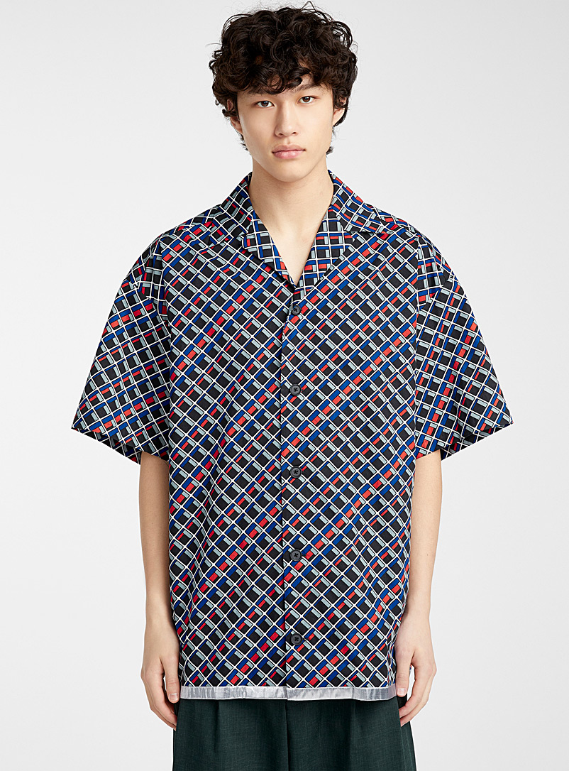 Kolor Blue Geometric Camp shirt for men