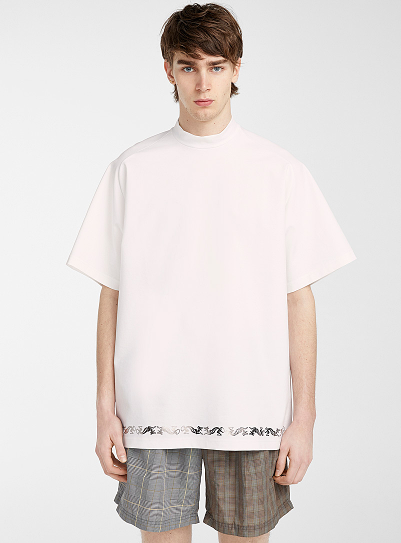 Kolor White Mock neck T-shirt for men