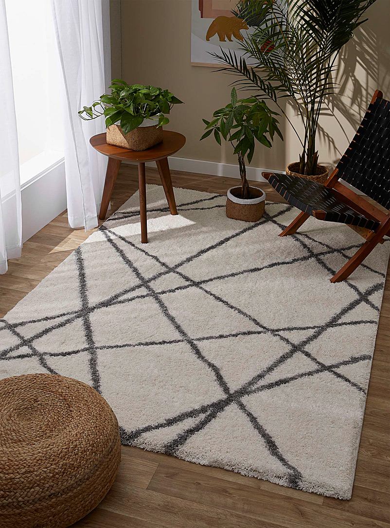 Simons Maison Cream Beige Intersection shag rug