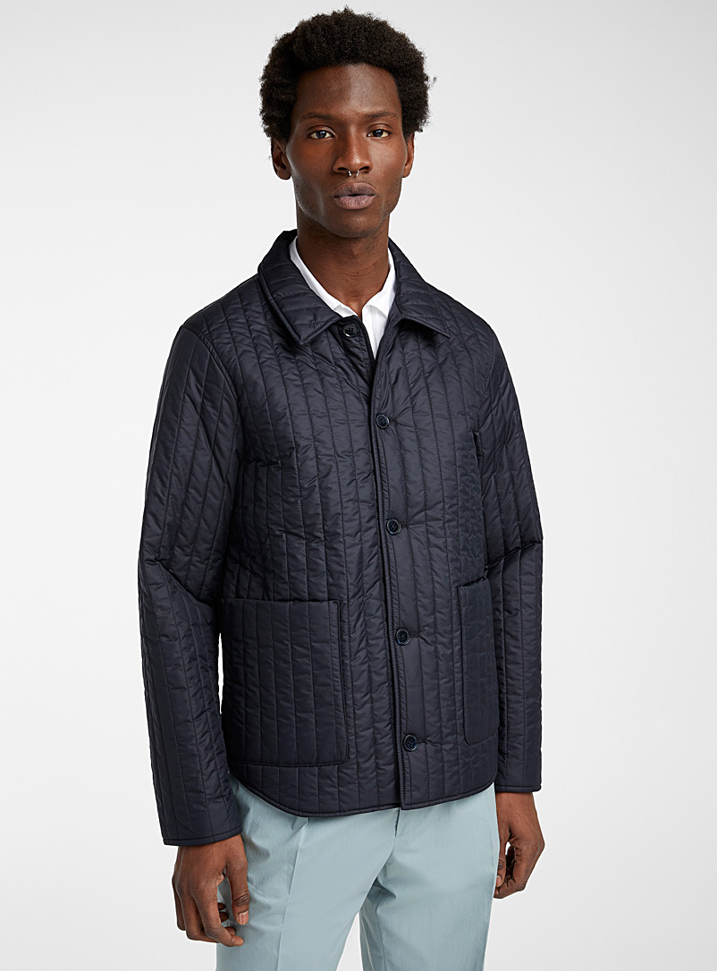Officine Générale Marine Blue Theo quilted jacket for men