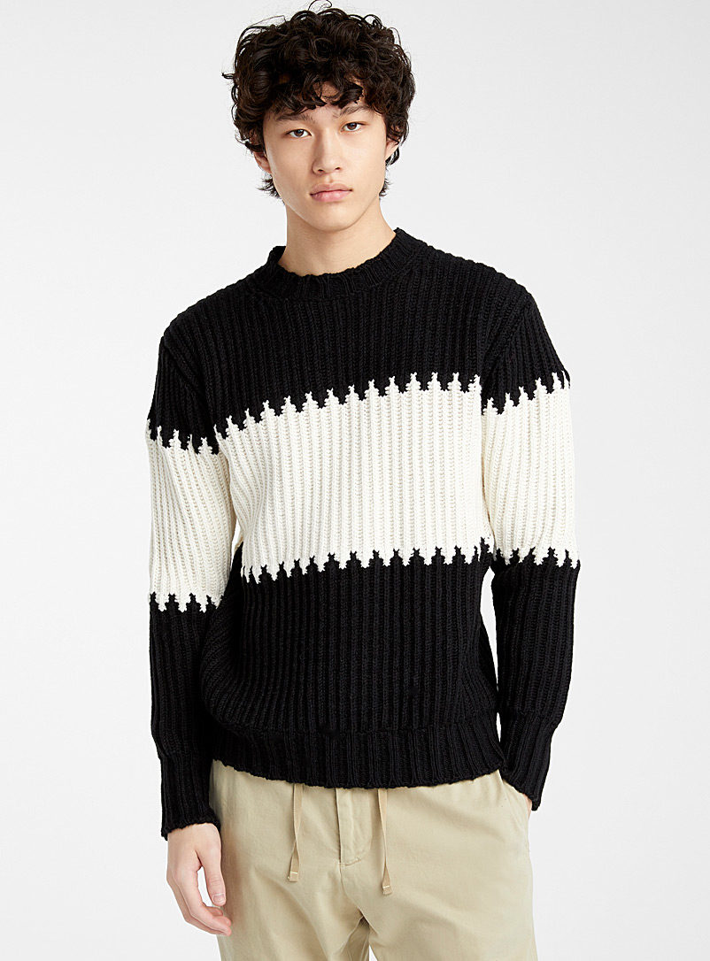 color-block-ribbed-sweater