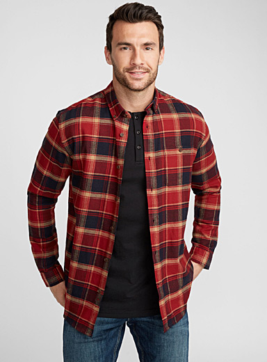 Chambray accent check shirt <br>Regular fit
