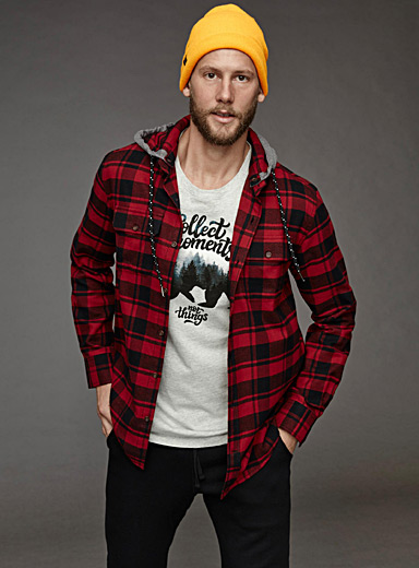 Hooded check flannel shirt  Semi-tailored fit