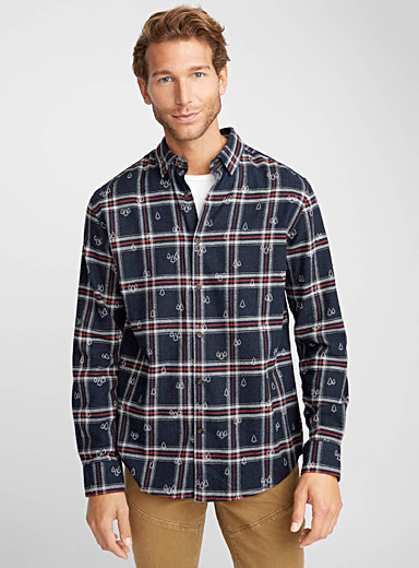 Woodland check flannel shirt <br>Semi-tailored fit